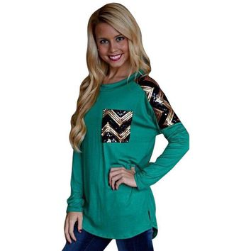 Green Sequin Pocket Chevron Pullover