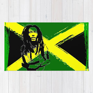 Feeling Rasta - Green - Rastafarian stencil artwork, jamaica flag, reggae music, positive vibration Rug by hmdesignspl