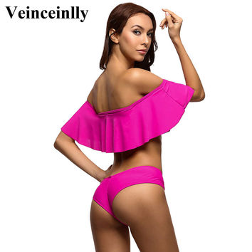 New rose Sexy off shoulder ruffled bikini women Flounce bandeau swimsuit swimwear women bathing suit biquini maillot de bain V14
