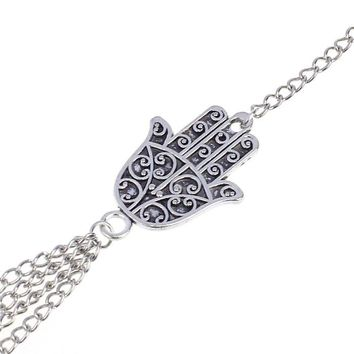 Silver Hamsa Fatima Bracelet Finger Ring Bangle