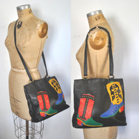 Southwestern Tote Bag / BOOT Black Leather Purse