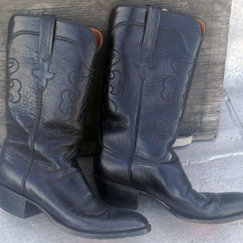 Vintage black leather Lucchese cowboy boots, size 9 1/2