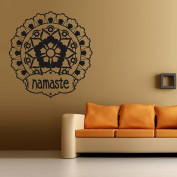 Wall decal art decor decals sticker hands Buddhism India Indian namaste OM Yoga success god lord (m56)