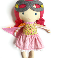 Super hero girl fabric doll for toddlers preschoolers, ideal rag doll gift with mask for kids and superhero fans for birthday or christmas
