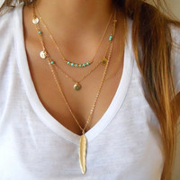 2017 Bohemian Choker Necklace Women Turquoise Feather Simple Multilayer Long Necklaces & Pendants Fashion Gold Plated Jewelry