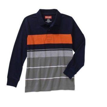 Wrangler boys' Long Sleeve Engineer Strip Polo Shirt, Medium 8, Navy/Orange