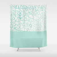 Abstract on Turquois Shower Curtain by Mirimo