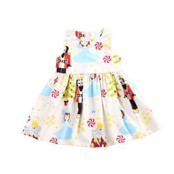 Infant Girls Princess White Dress Kids Baby Party Costume Pageant Round Neck Floral Summer Xmas Sleeveless Casual Girl Dresses