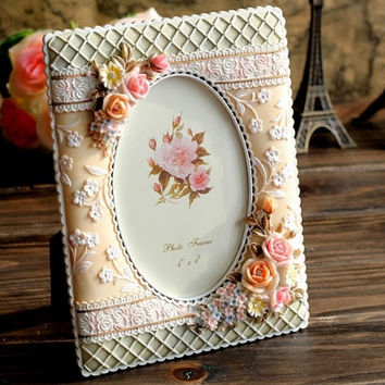 Retro Vintage Rose Flower Pink Green Home Decoration Photo Frame Picture Frame Resin 4'' x 6''