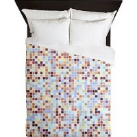Lavender Peach Patched Art Queen Duvet> Home Comforts