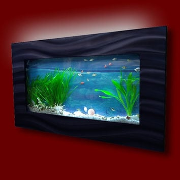 "Aussie Aquariums Wall Mounted Aquarium - Skyline Black - 35.4"" x 17.5"" x 4.5"""
