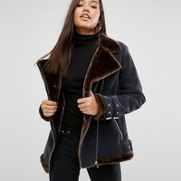 Missguided Faux Fur Lined Aviator Jacket at asos.com