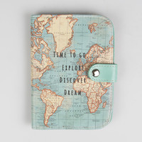 Time To Go Vintage Map Passport Holder