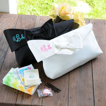 Monogram Bridesmaid Clutch with Survival Kit