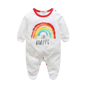 New 2017 Baby Rainbow Rompers Cotton Clothes Long Sleeve Coveralls Newborns Infant Boy Girl Jumpsuit Clothing M3