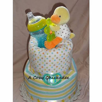 2 Tier Custom Duck Diaper Cake