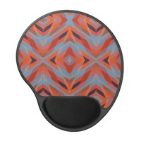 Red Orange Blue Geometric Knitted Look Gel Mouse Pad