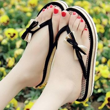 New Women Black Round Toe Flat Bow Casual Slippers