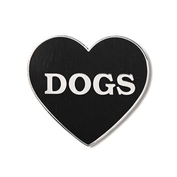 I Heart Dogs Pin - Black/Silver