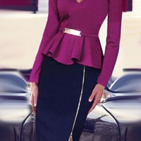 Purple Long Sleeve Flounce Zippered Midi Dress