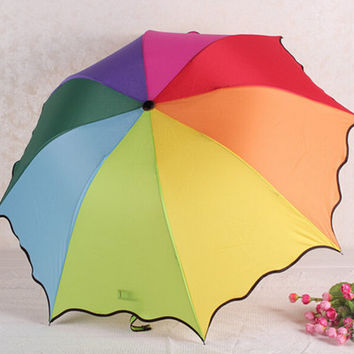 Rainbow Telescopic Umbrella Compact Auto Folding Umbrella