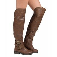 Nature Breeze Angelica-02H Vegan Over the Knee Round Toe Riding Boot TAN
