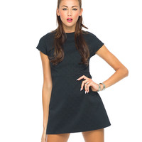 Motel Vermont Mini Dress in Black Embossed Scale