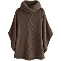 Joules Tess Cable Cape, Brown Marl