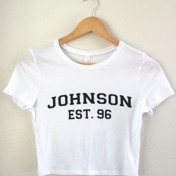 Johnson Est. 96 White Graphic Crop Top