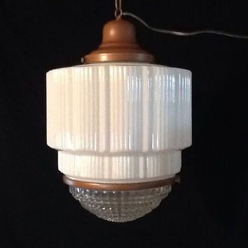 Vintage Art Deco Skyscraper Light Pendant Schoolhouse Commercial Fixture