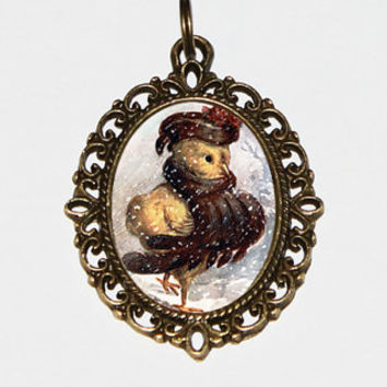 Winter Chick Necklace, Christmas Jewelry, Winter Bird, Bronze Oval Pendant
