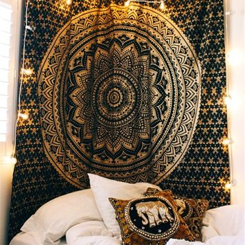 Dropshipping New Coffee Color Snow Circle Tapestry Indian Mandala Hippie Wall Hanging Tapestries 203x153cm Bedspreads Home Decor