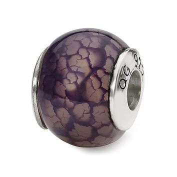 Purple Cracked Agate Stone Bead & Sterling Silver Charm, 13mm