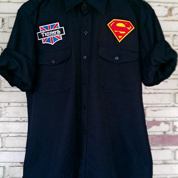 Vintage DIY Custom Patches Black Shirt Size: L