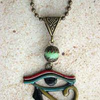 Egyptian Eye of Horus Necklace with added Patina Effect Antique Bronze Necklace Pendant