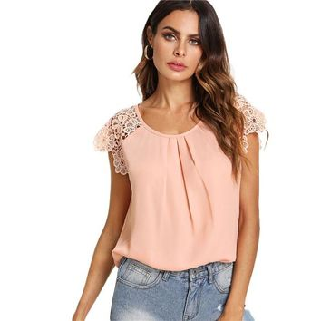 Floral Lace Cap Sleeve Pleated Top