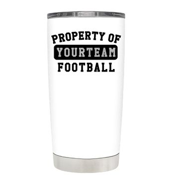 TREK Property of Football Personalized on White 20 oz Tumbler Cup