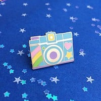 Pastel Rainbow Camera Enamel Pin