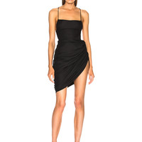 JACQUEMUS Asymmetric Mini Dress in Black | FWRD