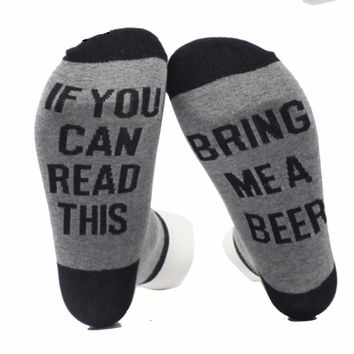 2018 Custom Beer Men Socks IF YOU can read this Bring Me a Beers Women Socks Unisex Cotton Compression Male Sock One Size