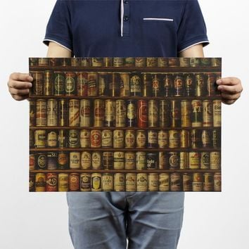 Beer Collection Vintage Kraft Paper Movie Poster Home Decor Wall Decals Art Removable Retro Painting