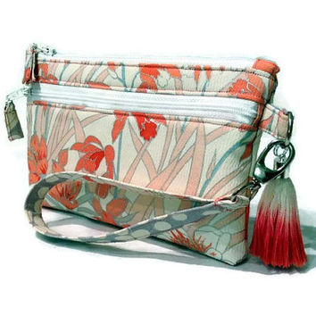 Cream Silk Wristlet, Silk Cell Phone Purse, Floral iPhone Pouch, Travel Purse, Cell Phone Holder, Small Silk Purse, Coral Cell Phone Pouch