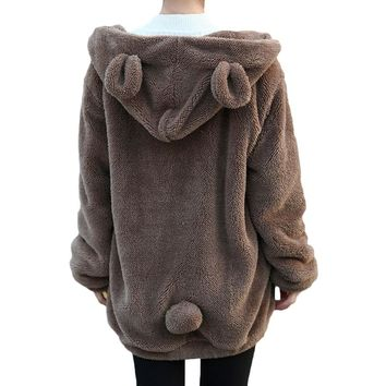 2017 Women Girl Winter Loose Fluffy Bear Ear Hoodie Hooded Coat Zip UP Hoodies Warm Outerwear Coat H1301 Cute Sweet Style
