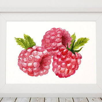 Raspberry decor Berries poster Kitchen print Food print ACW460