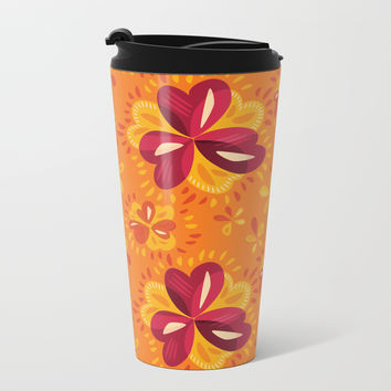 Orange And Pink Clover Abstract Floral Metal Travel Mug by borianagiormova