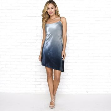 Cloudy Blue Velvet Shift Dress