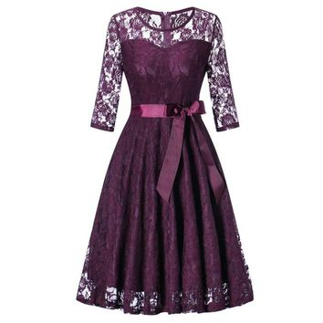 Middle sleeve O-Neck short purple lace Bow Bridesmaid Dresses wedding party dress prom gown women's fashion