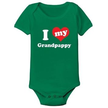 I Love (heart) Grandpappy - Baby One Piece - KELLY GREEN - 6 Months