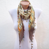 Beaded Scarf,Traditional Turkish Fabric Scarf,Crochet Oya