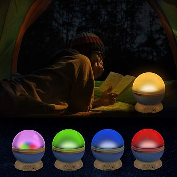 Moon Star Night Light Rotating Star Projector 4 LED 8 Modes with USB Cable